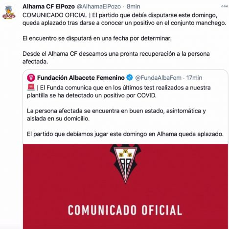 Aplazado el partido del Alhama CF contra el Funda Albacete