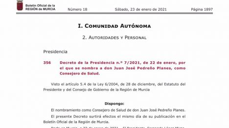 El doctor Juan José Pedreño Planes, nuevo consejero de Salud