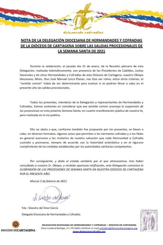 La Diócesis de Cartagena suspende las procesiones en la Región