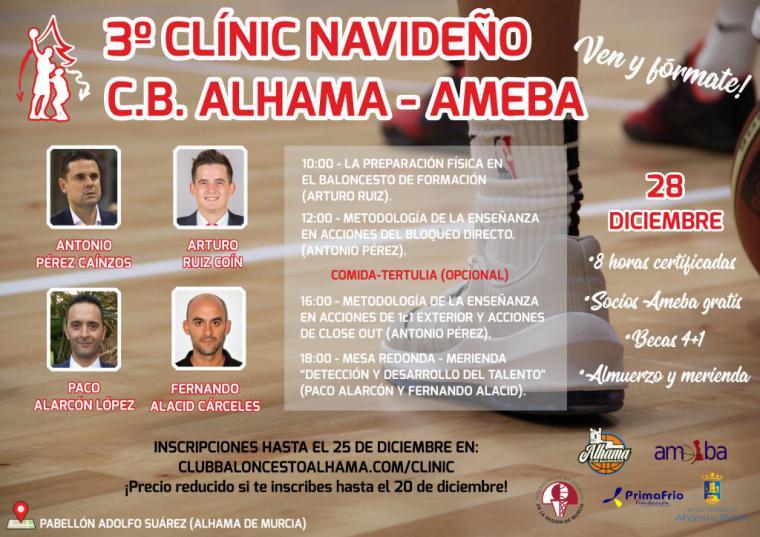 El CB Alhama organiza el 3º Clínic Navideño de Baloncesto