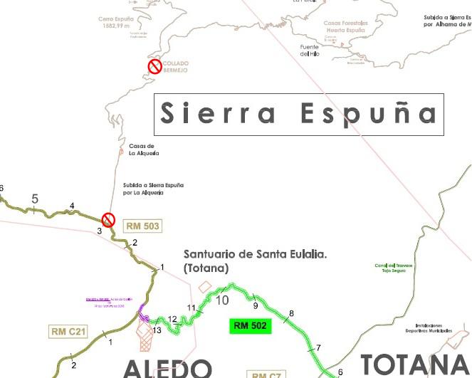 Obras en Sierra Espuña obligan a cortar uno de los accesos