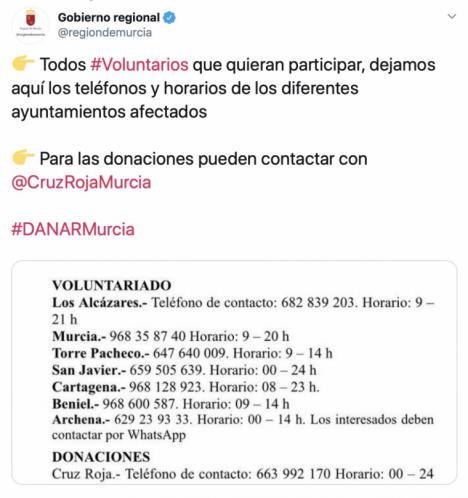 La Región informa de las vías de ayuda a los afectados por la DANA
