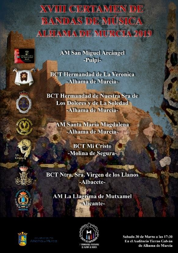 Siete bandas actuarán en el XVIII Certamen de Bandas de Música
